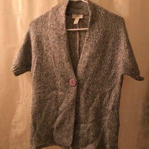 Loft, Silver Metallic short sleeve sweater
